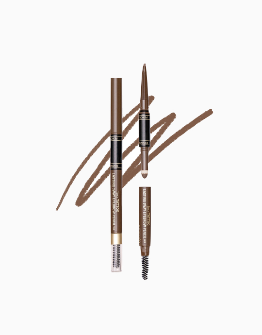 K-Palette 1Day Tattoo Lasting 3Way Eyebrow Pencil 24H (Reformulated) by K-Palette | Natural Brown 02