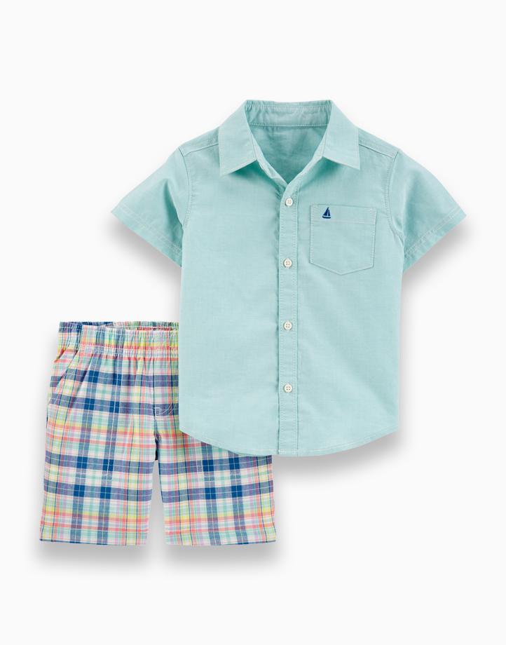 2-Piece Plaid Button-Front Shirt & Short Set by Carter's | NB