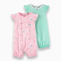 Re carter s baby girl 2 pack flamingo   checkered romper set