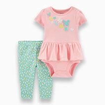 Re carter s baby girl 2 piece butterfly peplum bodysuit pant set