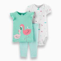 Re carter s baby girl 3 piece flamingo   checkered pant set