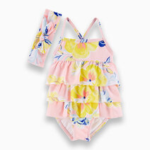 Re carter s baby girl 2 piece floral ruffle with headband swimsuit set