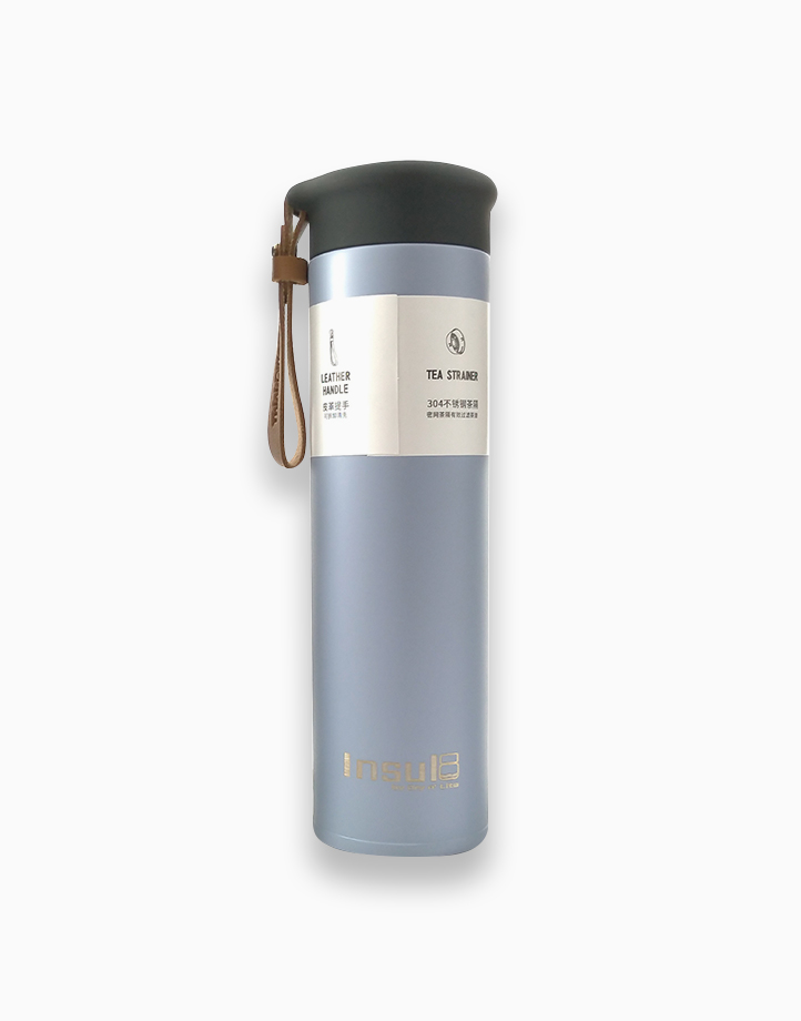 Double-Wall Insulated Bottle with PU Leather Strap (500ml) by Insul8 by Dry n' Lite | Ash Blue
