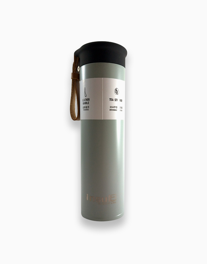 Double-Wall Insulated Bottle with PU Leather Strap (500ml) by Insul8 by Dry n' Lite | Tea Green