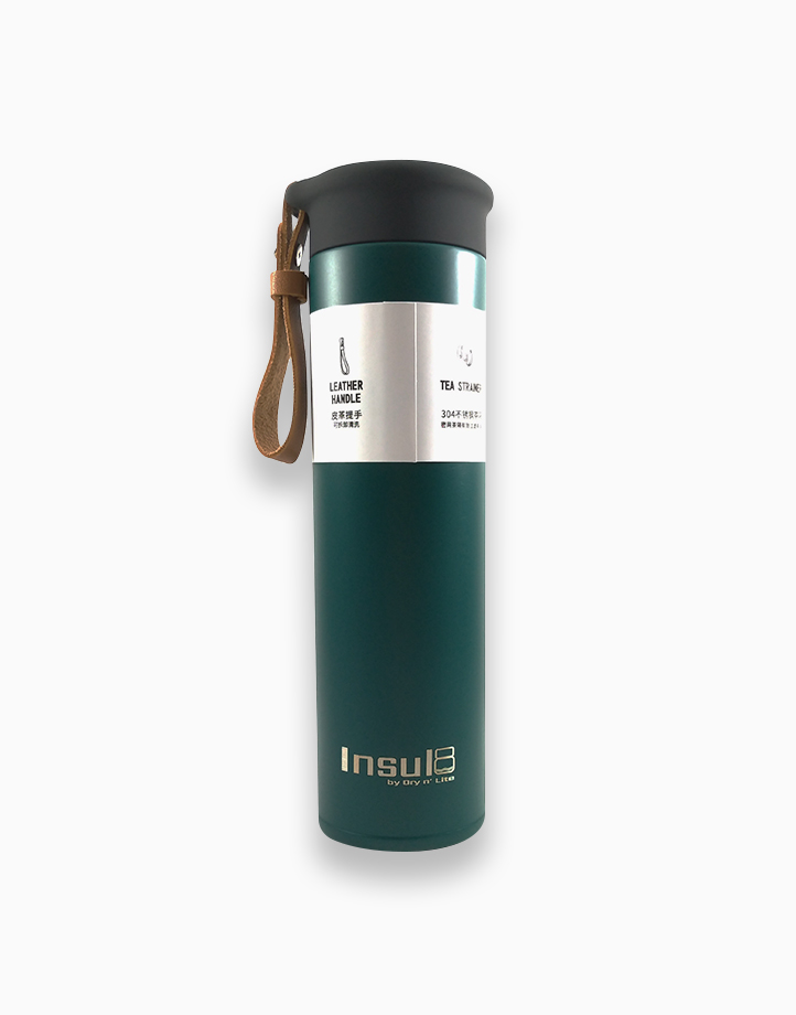 Double-Wall Insulated Bottle with PU Leather Strap (500ml) by Insul8 by Dry n' Lite | Forest Green