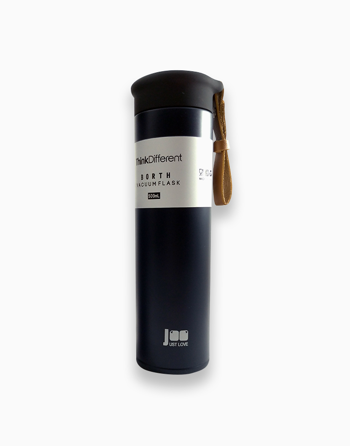 Double-Wall Insulated Bottle with PU Leather Strap (500ml) by Insul8 by Dry n' Lite | Midnight Blue