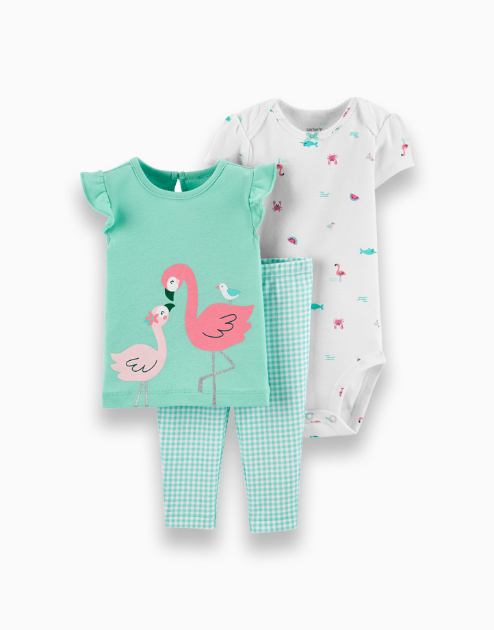 3-Piece Flamingo & Checkered Pant Set by Carter's   9M