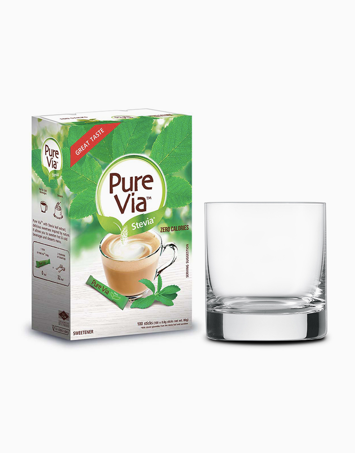 Pure Via Stevia Zero Calorie Sweetener (100 Sticks with Free Round Glass) by Equal Philippines