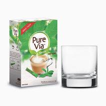 Pure via stevia zero calorie sweetener 100 sticks w free round glass 1