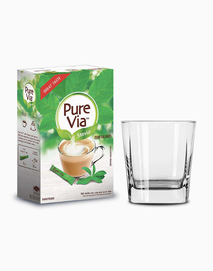 Pure Via Stevia Zero Calorie Sweetener (100 Sticks with Free Square Glass) by Equal Philippines
