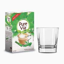 Pure via stevia zero calorie sweetener 100 sticks w free square glass 1