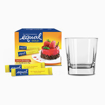 Equal gold zero calorie sweetener 50 sticks w free square glass 1