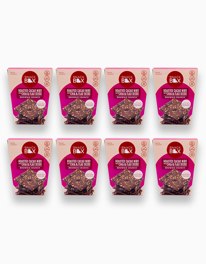 Roasted Cacao Nibs with Chia and Flaxseeds Brownie Crunch Bundle of 8 by Snack Box