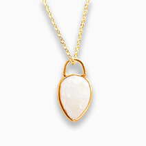 Ethereal Necklace w/ 12mm Rainbow Moonstone (For Women) by The Calm Chakra