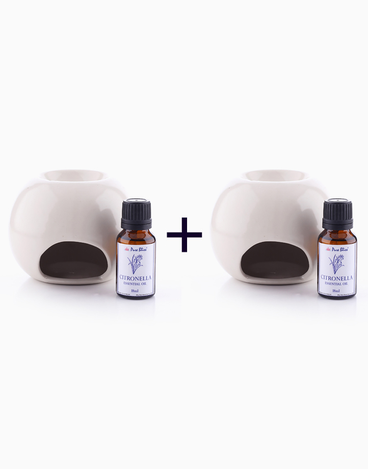Ceramic Oil Burner With Citronella Essential Oil Bundle (Buy 1, Take 1) by Pure Bliss