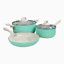 Ceramic Non-Stick Cookware Set of Fry Pan (24cm), Sauce Pan (18cm) & Dutch Oven (24cm) by Sunbeams Lifestyle