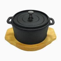 Re premium cast iron round sizzling casserole with original rubber wood base %2810cm%29