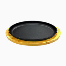 Premium cast iron oval sizzling plates with original rubber wood base %2825cm%29