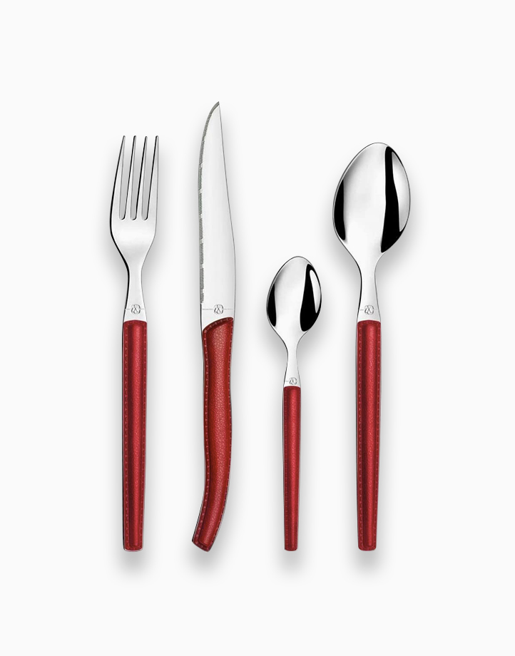 Sky Lag Stainless Steel 24-Piece Cutlery Set by Amefa | Red