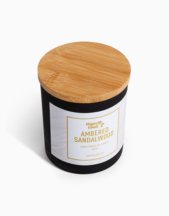 Ambered Sandalwood Scented Soy Candle by Happy Island
