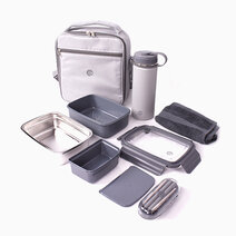 Premium Insulated Water Proof Thermal Bag with Detachable Shoulder Stap, Stainless Steel Insulated Container (800ml), Stainless Steel Insulated Tumbler (550ml), Stainless Steel Cutlery Set, and 100% Cotton Face Towel Set by Sunbeams Lifestyle