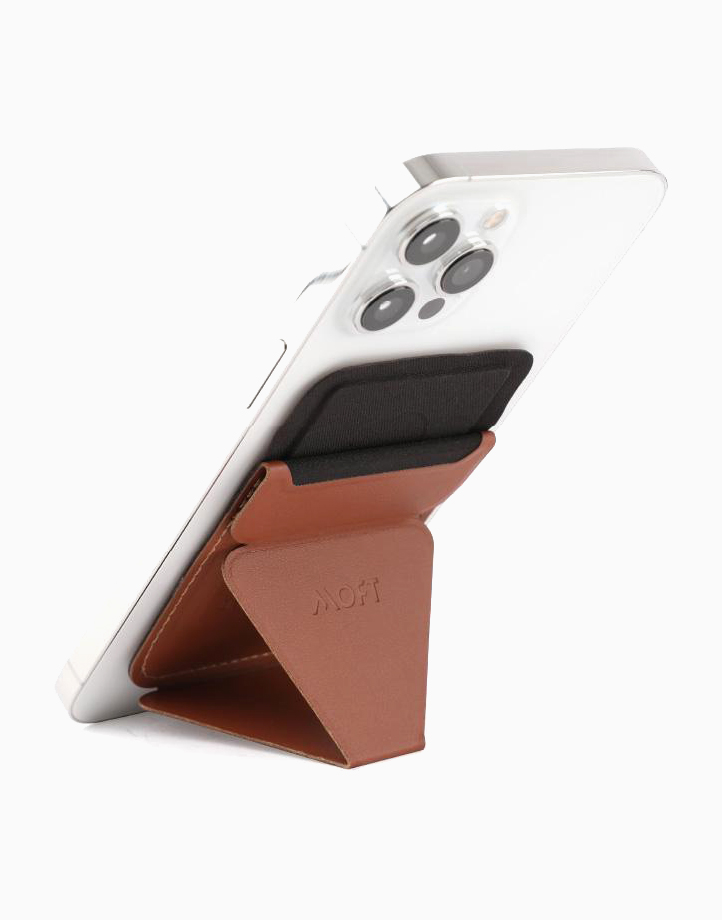 MagSafe Snap On Phone Stand and Wallet by MOFT | Sienna Brown