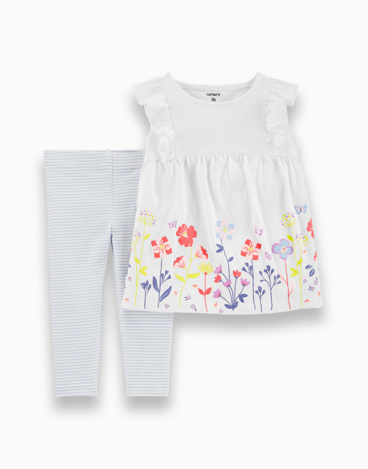 2-Piece Floral Slub Top & Striped Legging Set by Carter's   9M