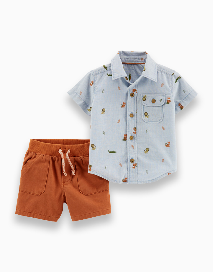 2-Piece Animal Button-Front Shirt & Twill Short Set by Carter's | NB