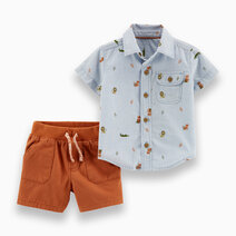 2-Piece Animal Button-Front Shirt & Twill Short Set by Carter's
