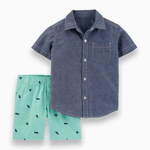 2-Piece Chambray Button-Front Shirt & Canvas Shorts by Carter's