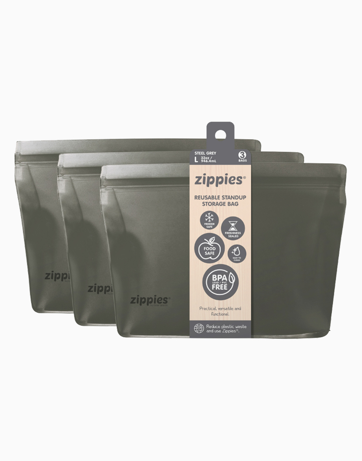 Zippies Steel Grey Reusable Stand-up Storage Bags - Large by Zippies