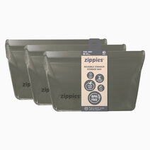 Re zippies steel grey reusable stand up storage bags   medium