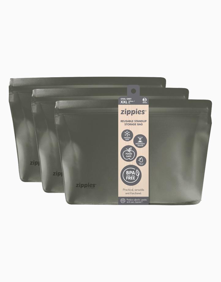 Zippies Steel Grey Reusable Stand-up Storage Bags - XXL by Zippies