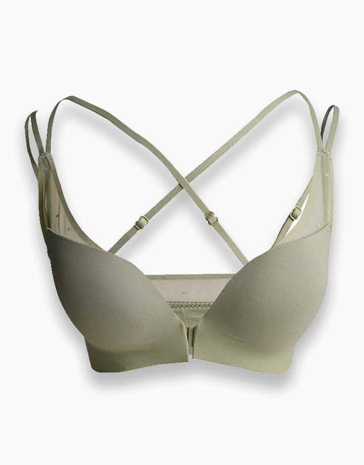 Front Clasp Light Padded Push Up Bra with Semi Wide Wing (Green) by Adam & Eve | 85B