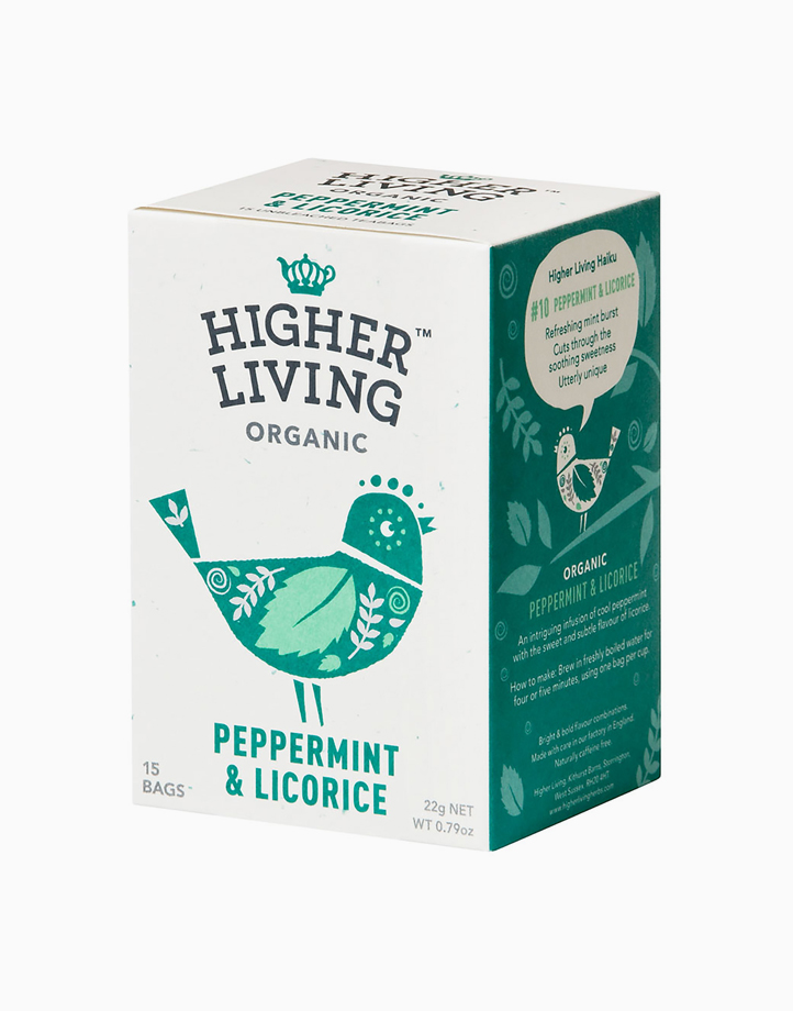 Higher Living Organic Peppermint & Licorice (15 Bags, 22g) by Raw Bites