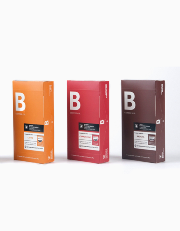 White Cup Bundle: 3 Packs of 10 Nespresso Compatible Coffee Capsule Packs - Sedosa (Latte), Intenso (Cappuccino), Xoco (Mocha) by B Coffee Co.