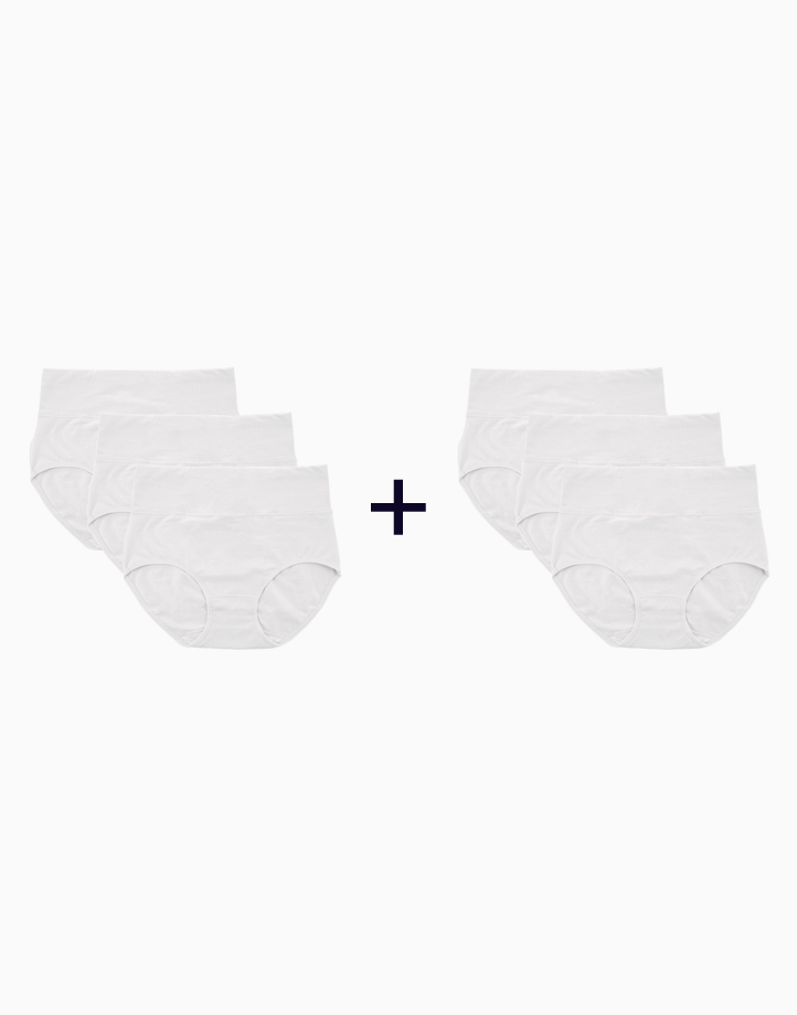 Belly Bikinis in White (Set of 3 High Rise Control Panties) (Buy 1, Take 1) by Jellyfit | Large