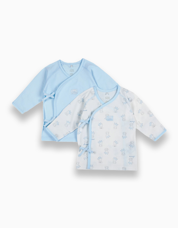 Light Blue Newborn Tie Sides Tees - Set of 2 by Chicco | 6 MONTHS