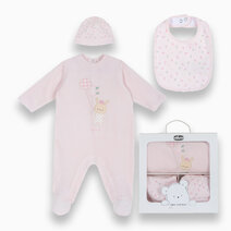 Pink Set Pajamas, Hat, Gag and Gift Box with Animal Sweets by Chicco