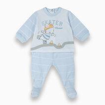 Re blue baby smock leggings set