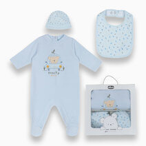 Blue Set Pajamas, Hat, Gag and Gift Box with Animal Sweets by Chicco