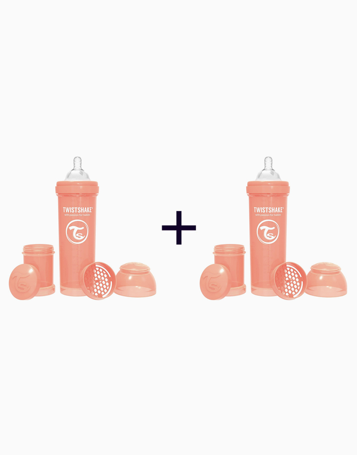 Anti-Colic Baby Bottle (330ml/11oz.) (Buy 1, Take 1) by Twistshake of Sweden   Peach