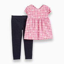 Re carter s baby girl 2 piece floral gingham top   knit denim legging set