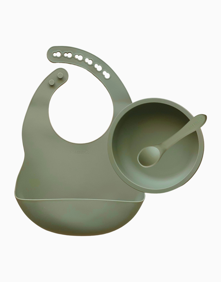 First Solids - Bib, Bowl & Spoon Set by Tots & Kisses   Olive