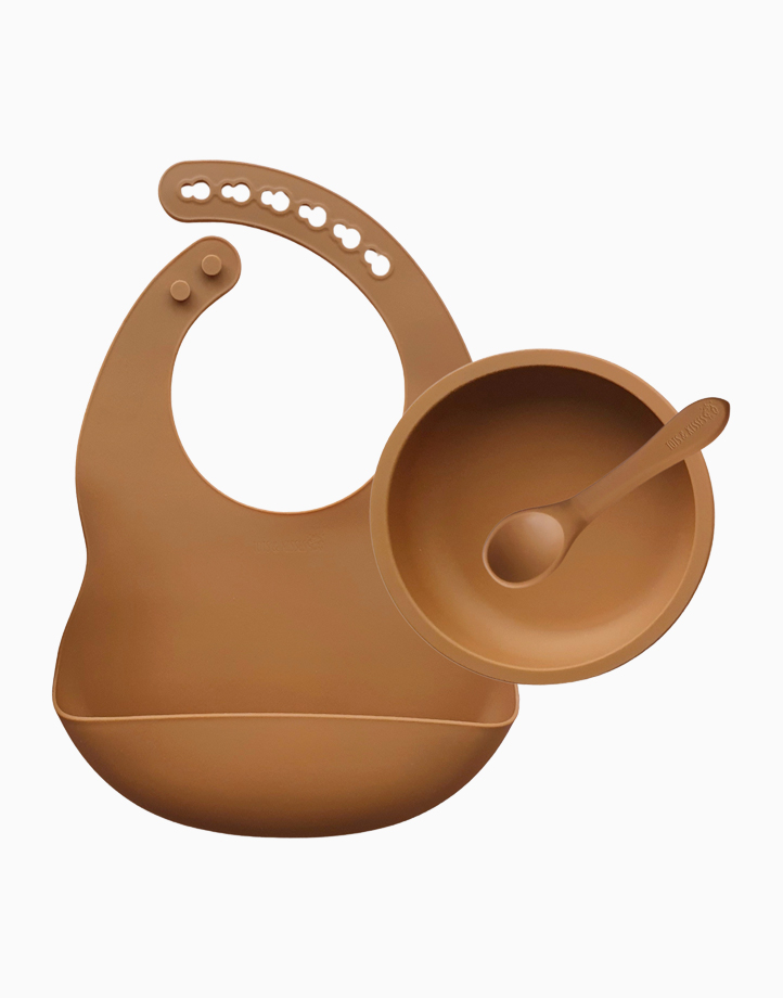 First Solids - Bib, Bowl & Spoon Set by Tots & Kisses   Clay