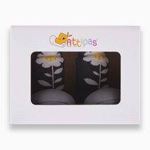 Flower Design (Grey) by Attipas Baby Shoe Socks