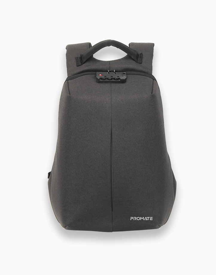 """Defender-16 Anti-Theft Backpack for 16"""" Laptop with Integrated USB Charging Port. Shock Proof Padding. Water Resistant. Illuminating Safety Strip - Black by Promate"""