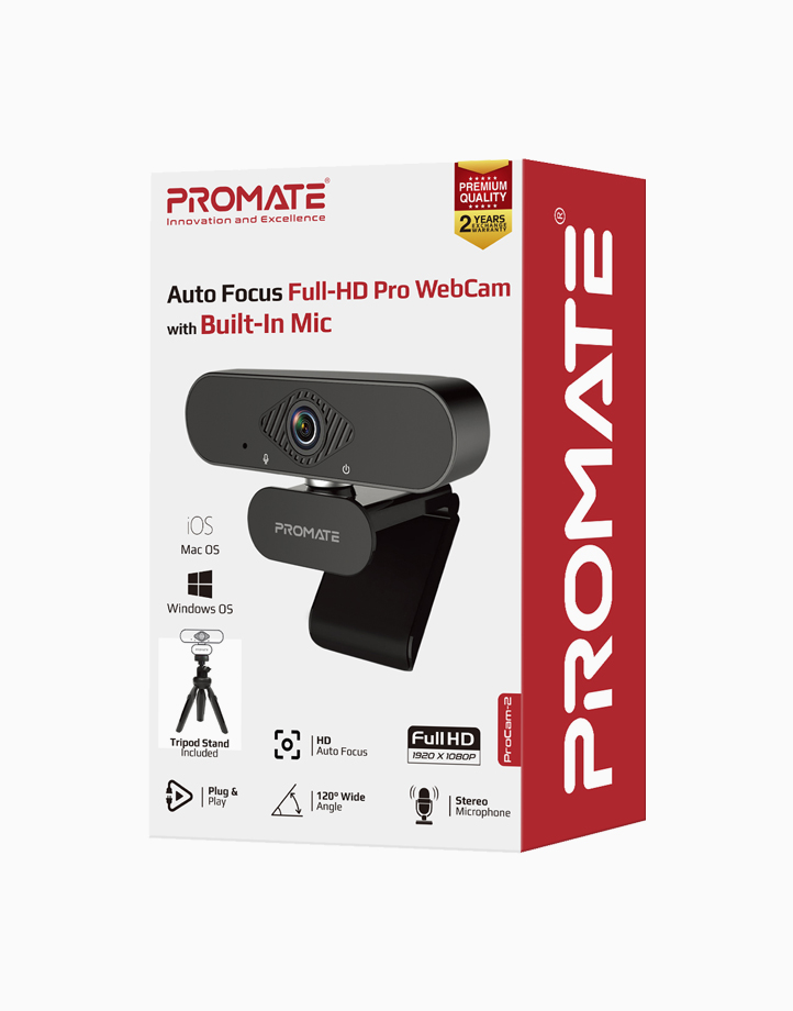 Procam-2 Sleek 1080p High Definition Web Camera With Mic, 120Degree Wide Angle - Black by Promate