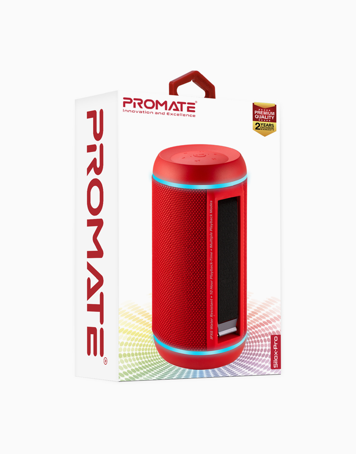 Silox-Pro 30W True Wireless Stereo Speaker with LED Light Show by Promate   Red