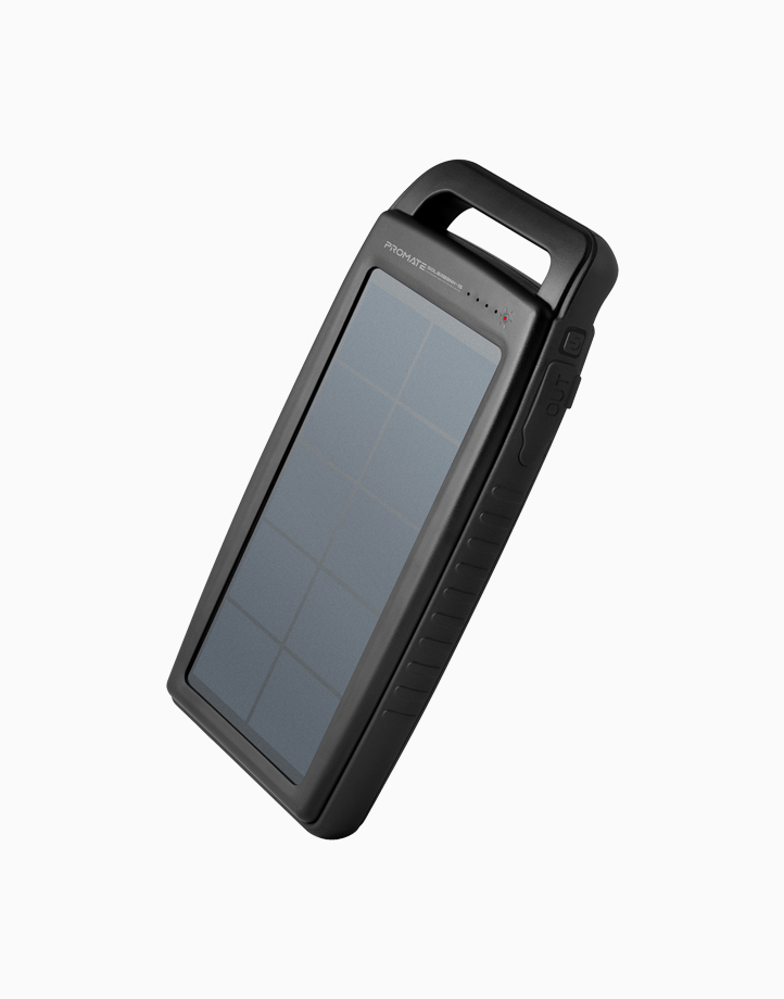 Solarbank-15 15000mAh Solar Power Bank with 2.1A USB Port & LED Light - Black by Promate